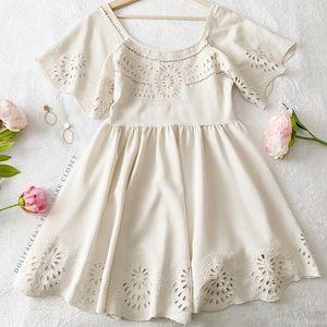 UO Staring At Stars Cream Babydoll Dress